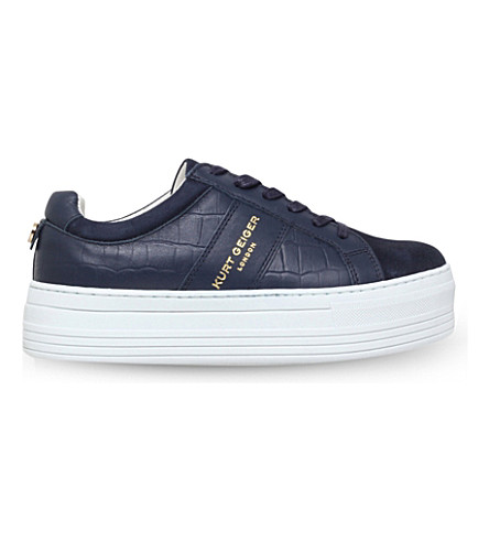 KURT GEIGER LONDON Ladbrook leather low-top flatform trainers (Navy