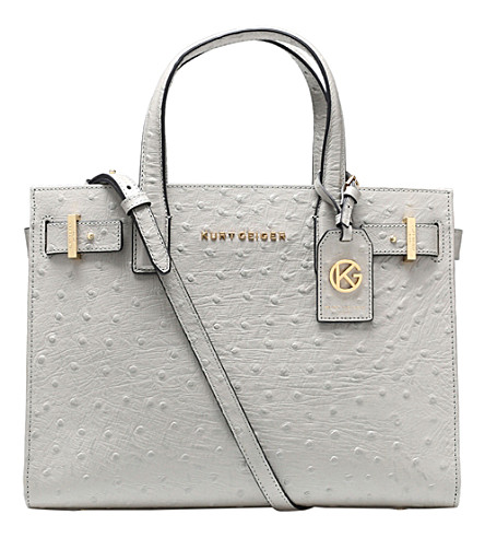 KURT GEIGER LONDON London ostrich-leather tote (Grey/light