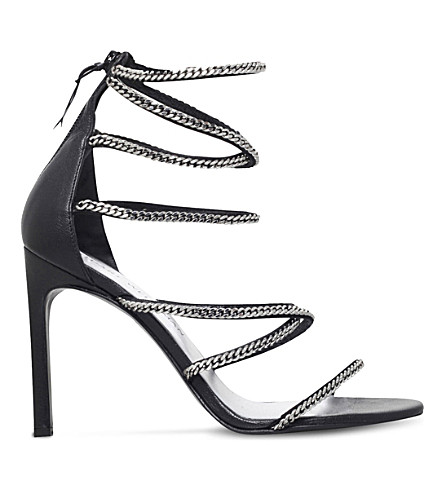 STUART WEITZMAN Xchain embellished leather heeled sandals (Black