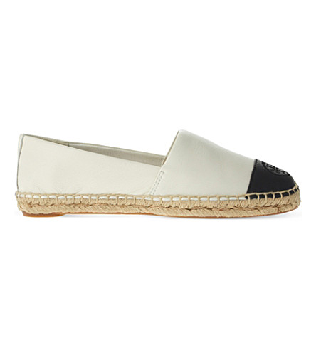 TORY BURCH Colourblock leather espadrilles (White/blk