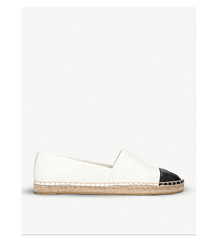 TORY BURCH Colour block cotton and leather espadrilles (Bone