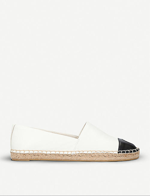 TORY BURCH Colour block cotton and leather espadrilles