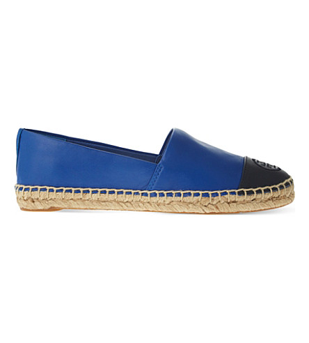 TORY BURCH Colourblock leather espadrilles (Blue/drk.c