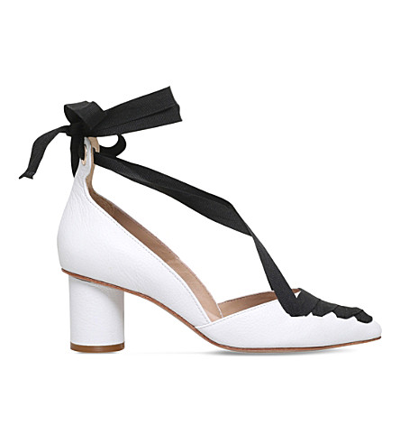 KURT GEIGER LONDON Mayfair leather ribbon courts (White
