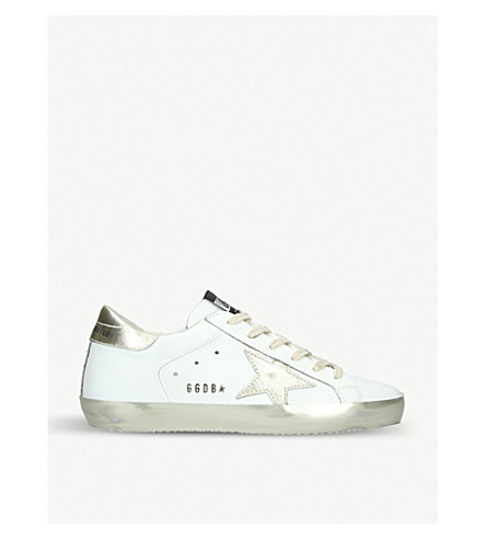 GOLDEN GOOSE Superstar E37 Sparkle leather trainers (Cream comb