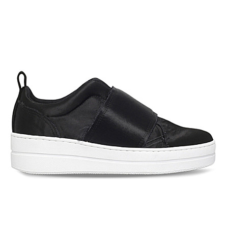 KURT GEIGER LONDON Labelle slip-on satin sneakers (Black