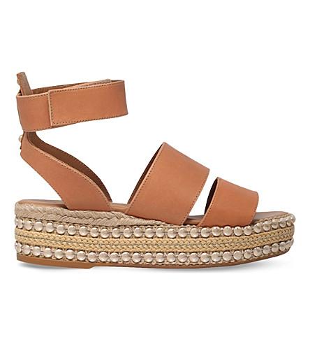KURT GEIGER LONDON Palma leather flatform sandals (Tan