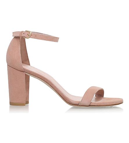 STUART WEITZMAN NearlyNude suede heeled sandals (Nude
