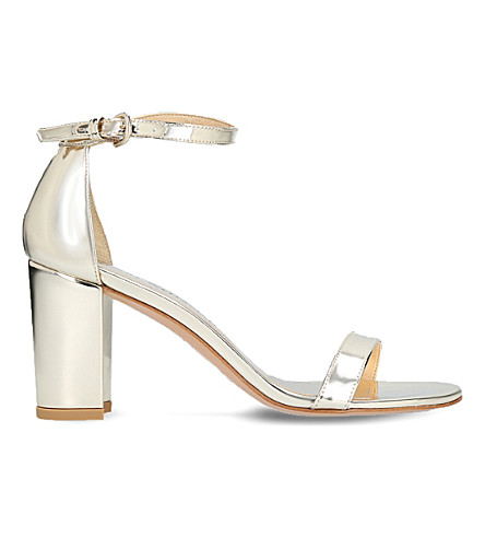 STUART WEITZMAN Nearlynude mirrored sandals (Gold