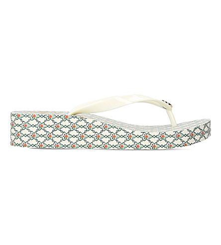 TORY BURCH Thandie rubber wedge flip-flops (Blk/white