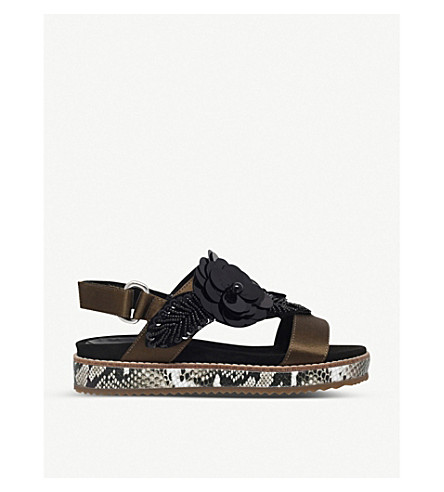 KURT GEIGER LONDON Bumble floral-embellished satin sandals (Khaki