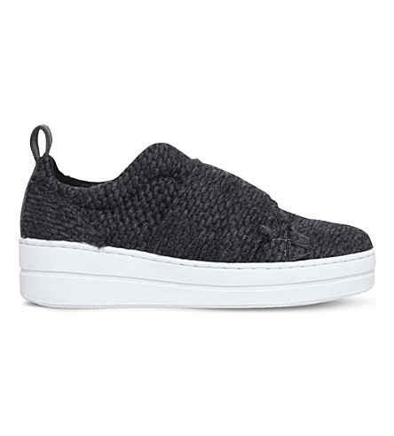 KURT GEIGER LONDON Labelle woven flatform trainers (Grey