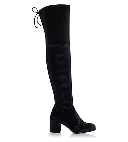 STUART WEITZMAN Tieland velvet over-the-knee boots (Black