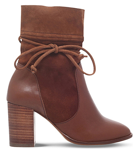 KURT GEIGER LONDON Demi leather and suede ankle boots (Tan