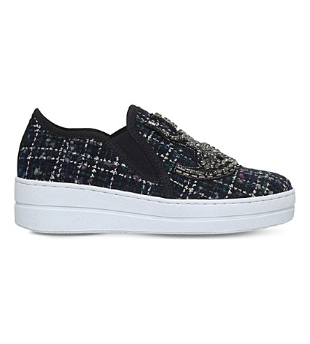 KURT GEIGER LONDON Lamont embellished woven trainers (Navy