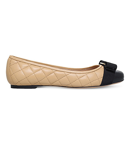 SALVATORE FERRAGAMO Varina quilted leather pumps (Blk/beige