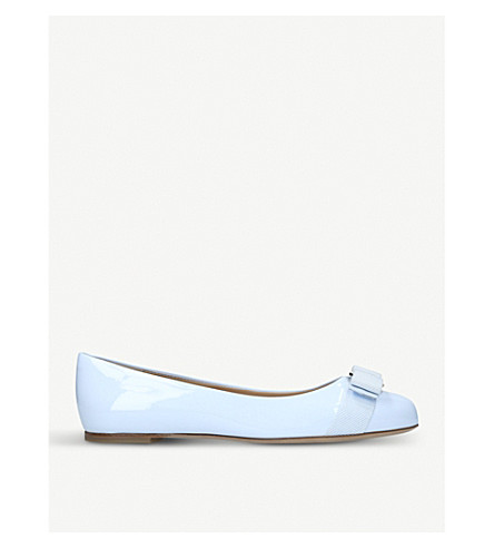 SALVATORE FERRAGAMO Varina patent leather ballerina flats (Pale+blue