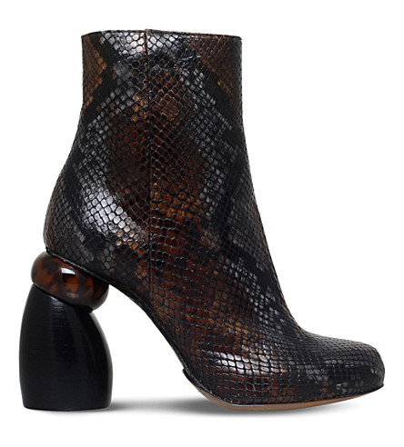 DRIES VAN NOTEN Snake-embossed leather ankle boots (Brown