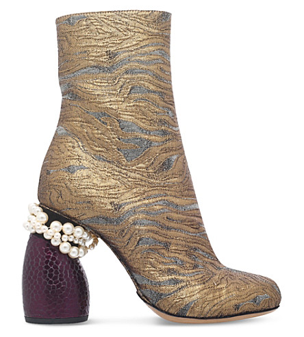 DRIES VAN NOTEN - Metallic jacquard ankle boots | Selfridges.com