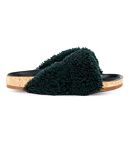 CHLOE Karen shearling sliders (Dark+green