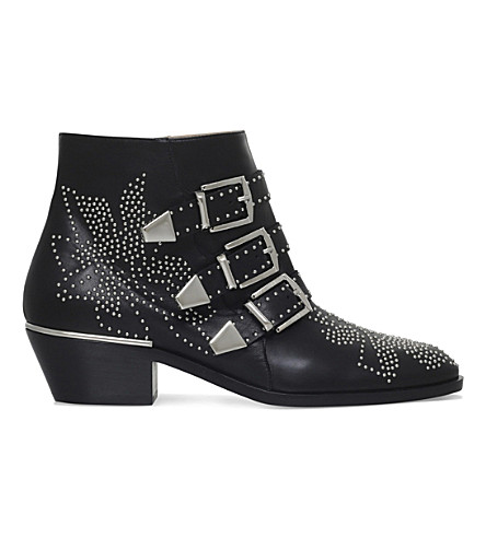 CHLOE Susanna studded leather ankle boots (Black/comb