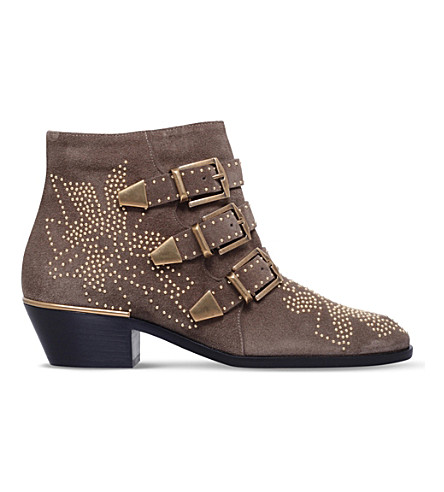 CHLOE Susanna studded leather ankle boots (Grey/dark