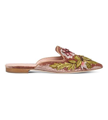 ALBERTA FERRETTI Floral velvet slippers (Nude