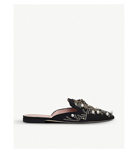 ALBERTA FERRETTI Mia couture pearl embroidered mules (Black