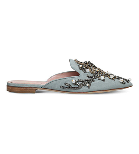 ALBERTA FERRETTI Mia couture pearl embroidered mules (Pale+blue