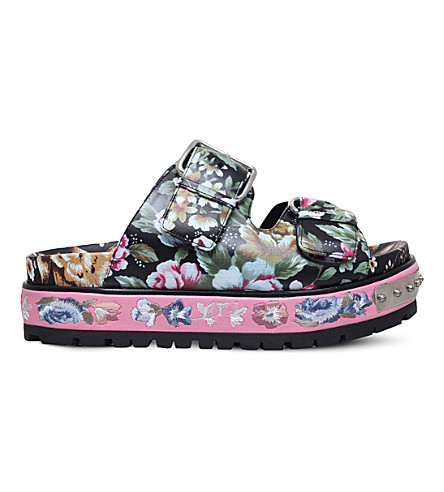 ALEXANDER MCQUEEN Floral-print embroidered leather flatfrom sandals