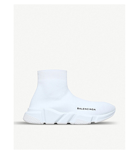 BALENCIAGA Speed woven mid-top trainers (White