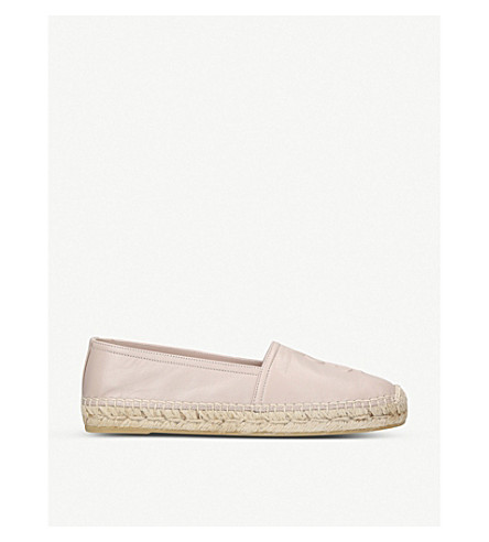 SAINT LAURENT Classic logo-detail leather espadrilles (Nude