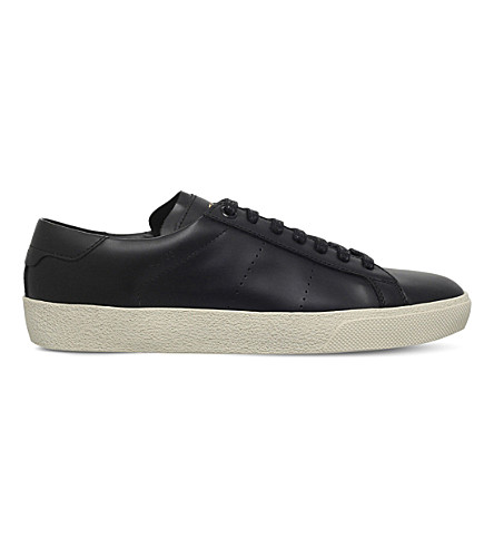 SAINT LAURENT Court classic leather trainers (Black