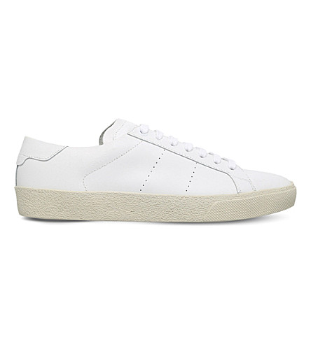 SAINT LAURENT Court classic leather trainers (White