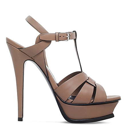 SAINT LAURENT Tribute 105 leather heeled sandals (Taupe