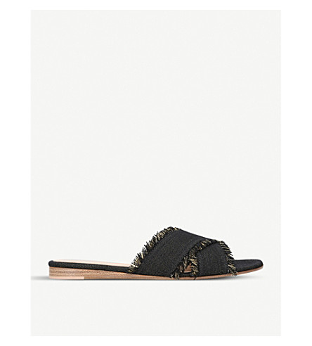 GIANVITO ROSSI Barth fringed denim flats (Blue/drk.c