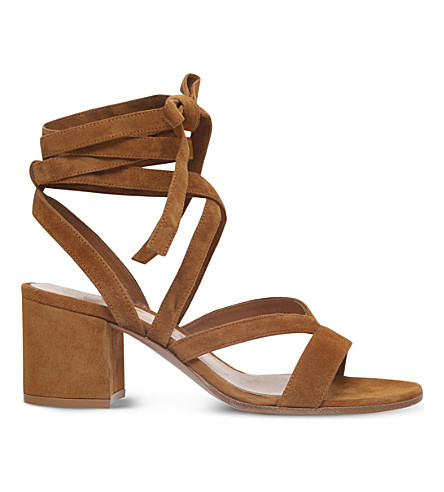 GIANVITO ROSSI Netley Mews suede heeled sandals (Tan