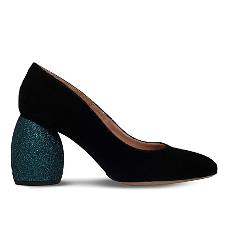 DRIES VAN NOTEN Glitter-heel velvet court shoes (Blk/blue