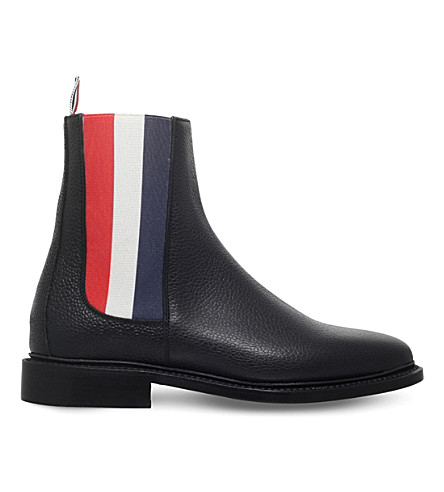 THOM BROWNE Tricolour panel leather Chelsea boots (Black