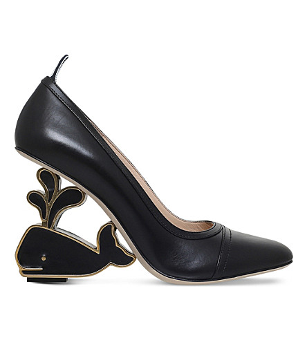THOM BROWNE Whale leather heeled pumps