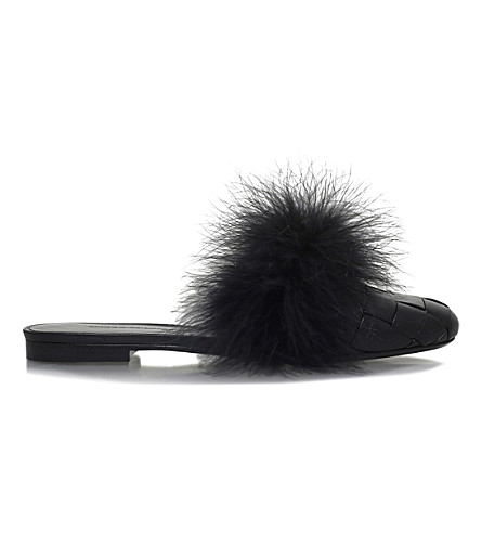 MARCO DE VINCENZO Woven feather slides