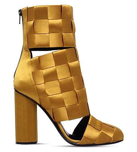 MARCO DE VINCENZO Basket weave satin ankle boots (Mustard