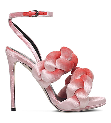 MARCO DE VINCENZO Braided velvet high heeled-sandals (Pale+pink
