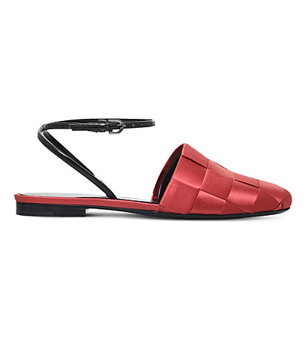 MARCO DE VINCENZO Basket weave satin sandals (Red