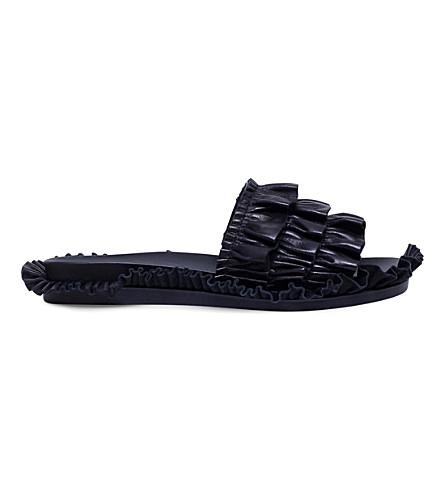 SIMONE ROCHA Ruffle leather slides