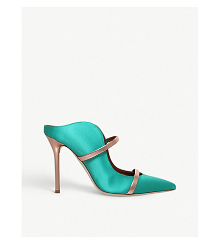 MALONE SOULIERS Maureen buckled satin mules (Dark+green
