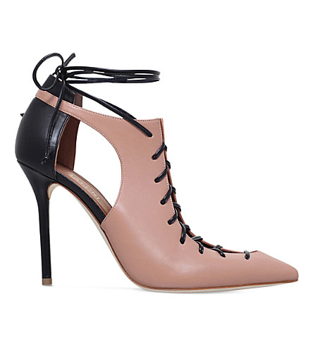 MALONE SOULIERS Montana 100 lace-up leather heeled ankle boots (Nude