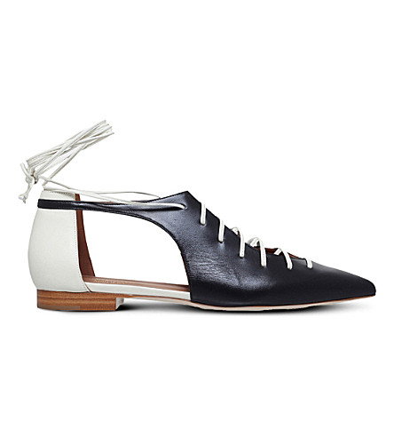 MALONE SOULIERS Montana leather pointed-toe flats (Blk/white
