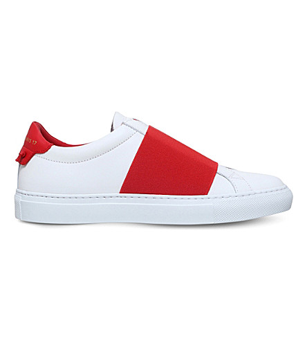 GIVENCHY Knot elastic leather sneakers (White/red