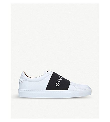 GIVENCHY Elastic-strap low-top leather trainers (White/blk